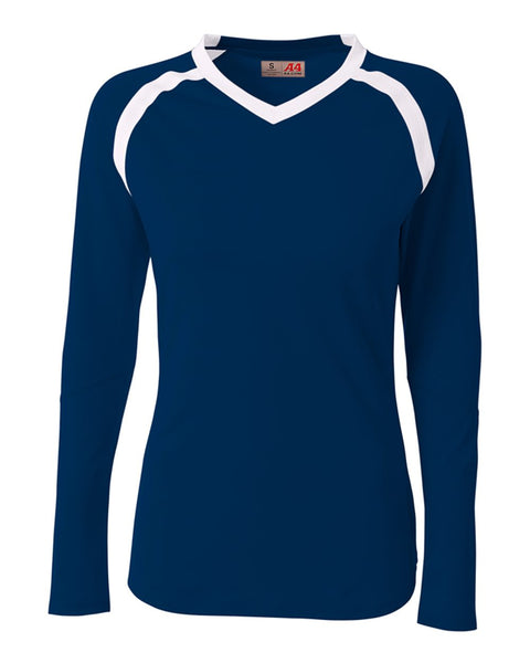 A4 NG3020 The Ace - Long Sleeve Volleyball Jersey - Navy White - HIT A Double