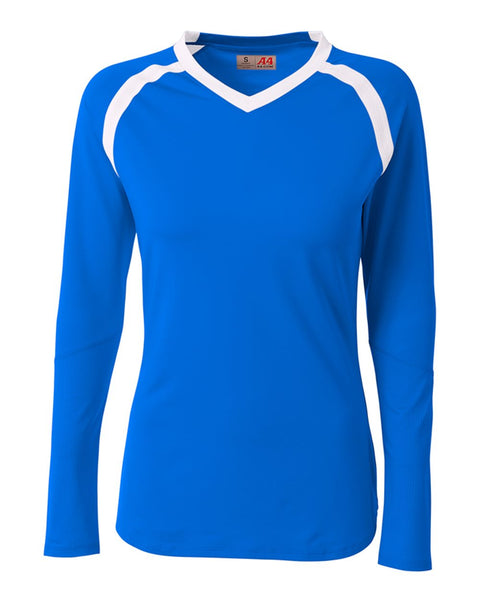 A4 NG3020 The Ace - Long Sleeve Volleyball Jersey - Royal White - HIT A Double