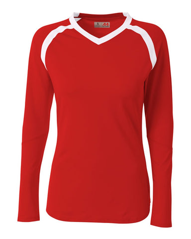 A4 NG3020 The Ace - Long Sleeve Volleyball Jersey - Scarlet White - HIT A Double