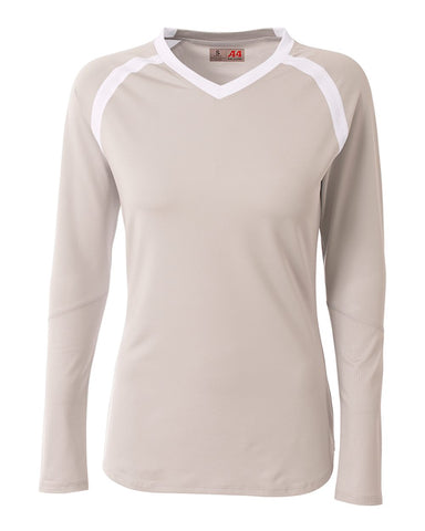 A4 NG3020 The Ace - Long Sleeve Volleyball Jersey - Silver White - HIT A Double