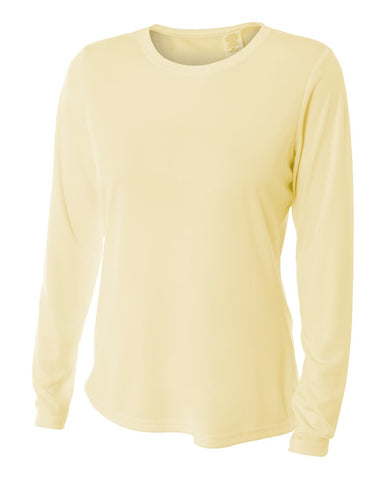 A4 NW3002 Women's Long Sleeve Performance Crew - Light Yellow