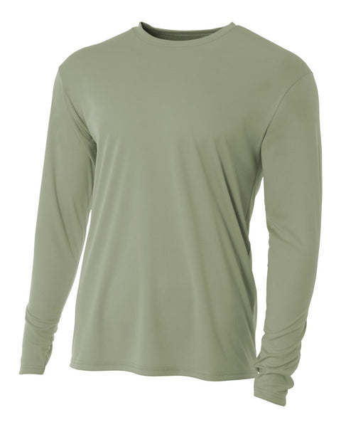 A4 NB3165 Youth Cooling Performance Long Sleeve Crew - Olive