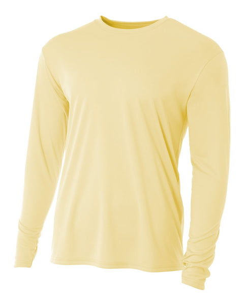 A4 N3165 Cooling Performance Long Sleeve Crew - Light Yellow