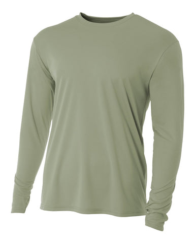 A4 N3165 Cooling Performance Long Sleeve Crew - Olive