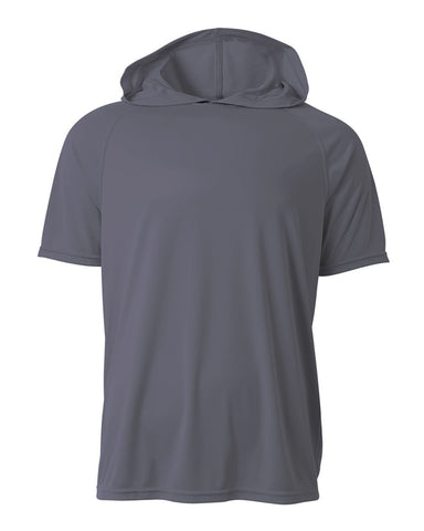 A4 N3408 Short Sleeve Hooded Tee - Graphite - HIT A Double