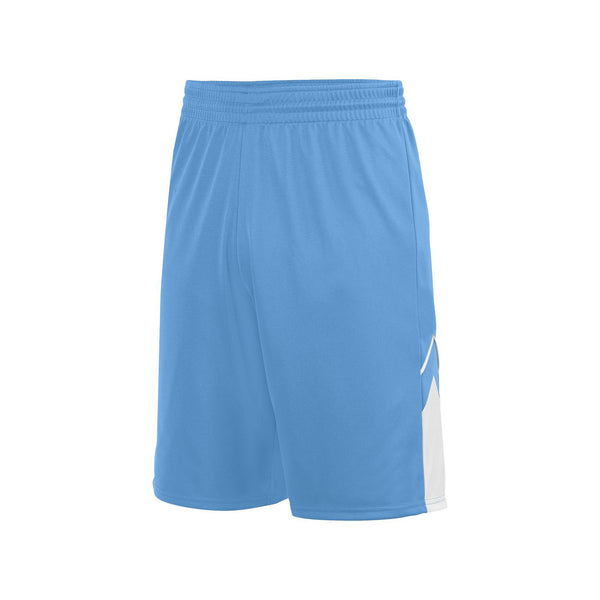 Augusta 1168 Alley-Oop Reversible Short - Columbia Blue White