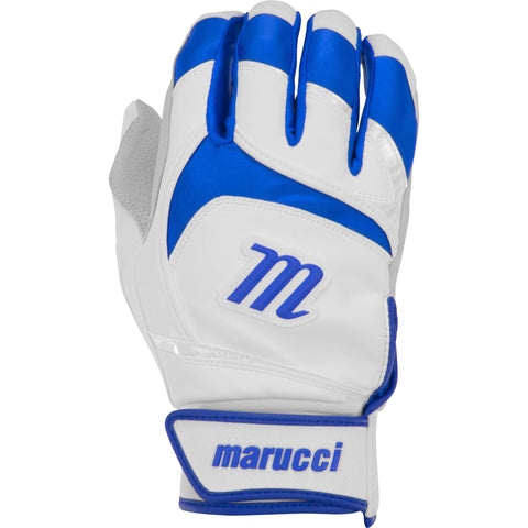 Marucci Adult Signature Batting Gloves - White Royal - Batting Gloves - Hit A Double - 1