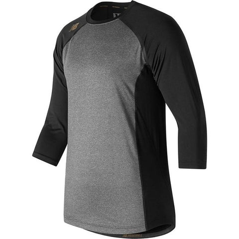 New Balance 3/4 Sleeve Baseball Compression Shirt - Black Gray