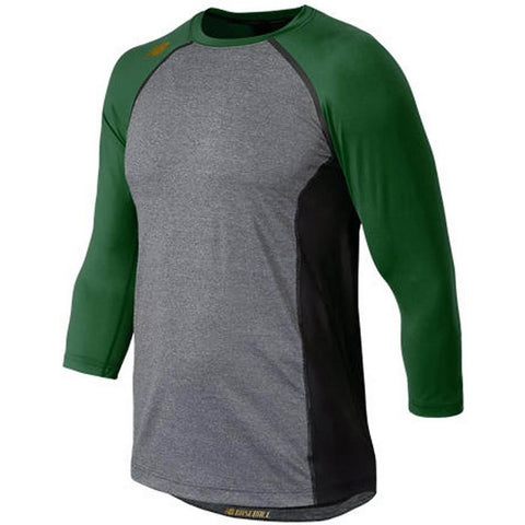 New Balance 3/4 Sleeve Baseball Compression Shirt - Dark Green Gray