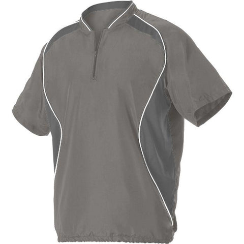 Alleson 3JSS13A Adult Short Sleeve Baseball Batters Jacket - Gray Charcoal White