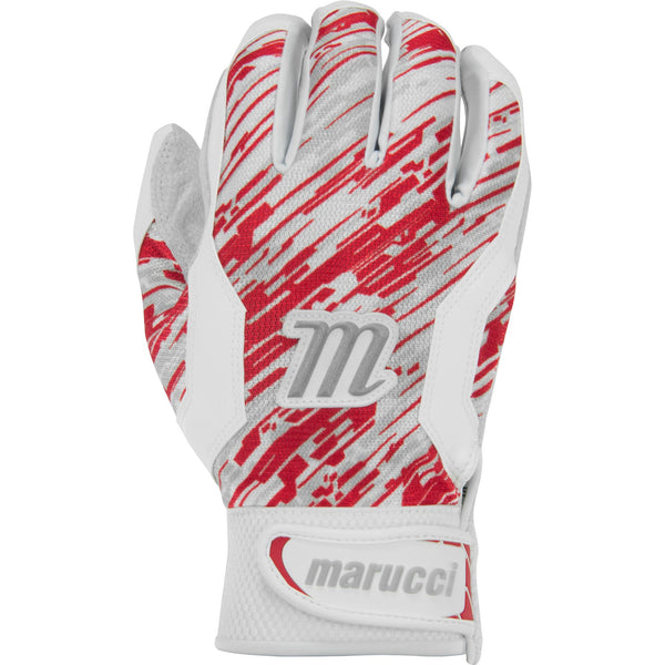 Marucci Adult Quest Batting Gloves - White Red Camo - Batting Gloves - Hit A Double - 1