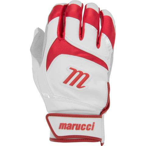Marucci Adult Signature Batting Gloves - White Red - Batting Gloves - Hit A Double - 1