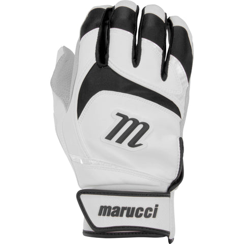 Marucci Adult Signature Batting Gloves - White Black - Batting Gloves - Hit A Double - 1