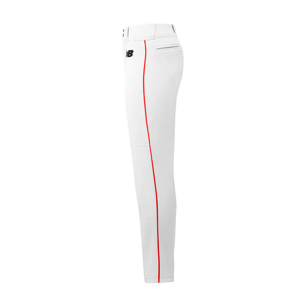 New Balance Adversary Adult Piped Pant - White Red - Baseball Apparel, Softball Apparel - Hit A Double - 1