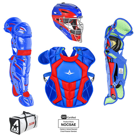 All-Star System 7 Certified NOCSAE Young Pro Catcher's Set (Ages 12-16) - Royal Scarlet - HIT A Double