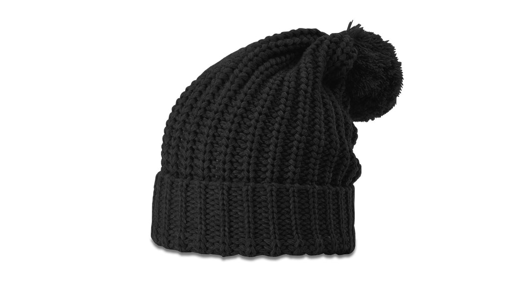 Richardson 143 Chunk Cable Beanie with Cuff and Pom - Black