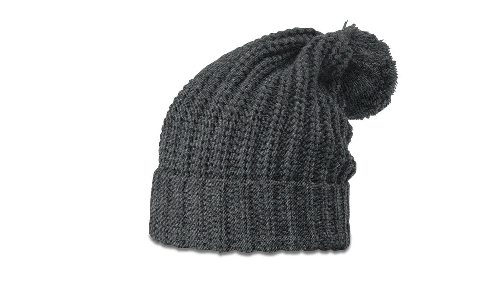 Richardson 143 Chunk Cable Beanie with Cuff and Pom - Heather Charcoal