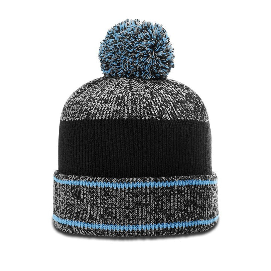 Richardson 148 Heathered Beanie with Cuff and Pom - Columbia Blue