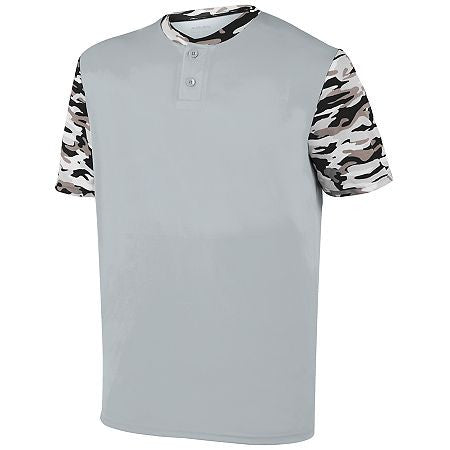 Augusta 1549 Youth Pop Fly Jersey - Silver Black Mod - Baseball Apparel - Hit A Double