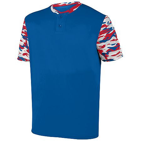 Augusta 1549 Youth Pop Fly Jersey - Royal Red Royal Mod - Baseball Apparel - Hit A Double