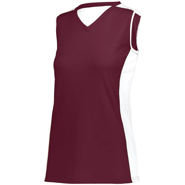 Augusta 1677 Girls Paragon Jersey - Maroon White Silver Grey