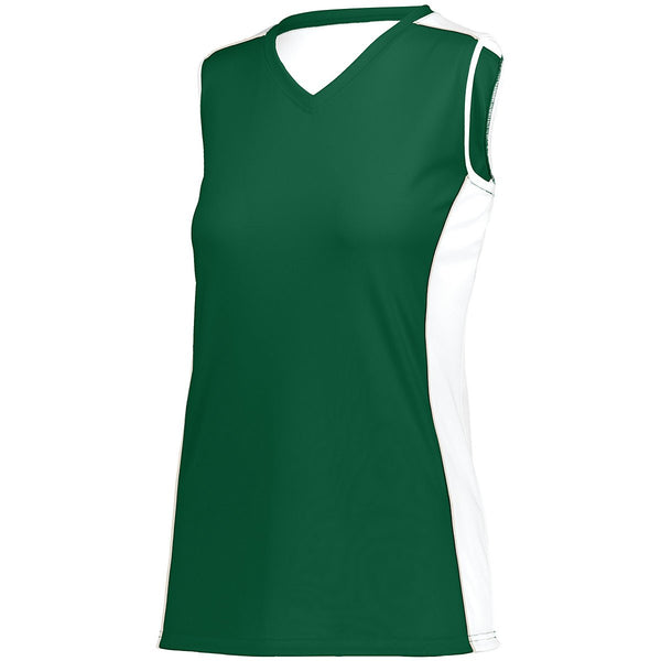 Augusta 1677 Girls Paragon Jersey - Dark Green White Silver Grey