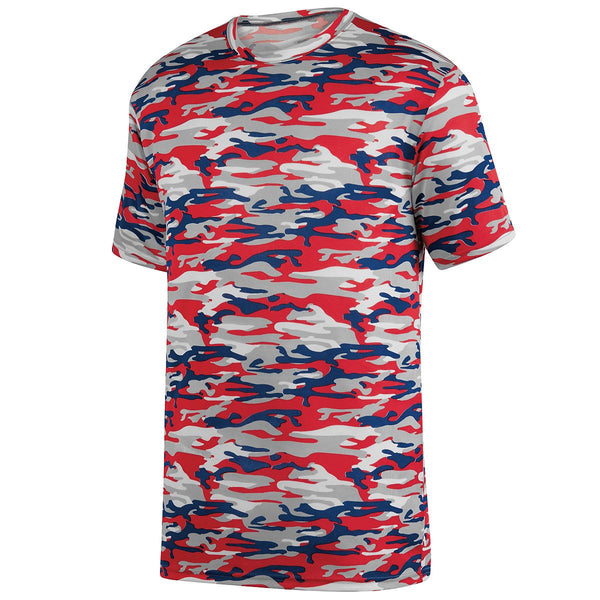 Augusta 1806 Mod Camo Wicking Tee Youth - Red Navy Mod