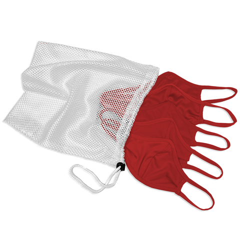 Badger 1930 B-Core 5 Pk Face Guard with Machine-Washable Mesh Laundry Bag - Red