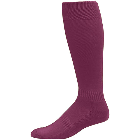 Augusta  6006 Elite Multi-Sport Knee High Sock - Maroon - Baseball Apparel, Softball Apparel, Lacrosse/Field Hockey, Volleyball Accessories, Football, Soccer - Hit A Double