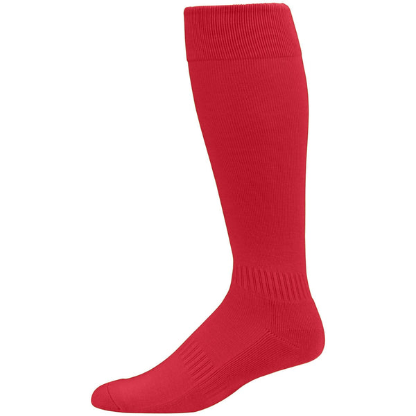Augusta  6006 Elite Multi-Sport Knee High Sock - Red - Baseball Apparel, Softball Apparel, Lacrosse/Field Hockey, Volleyball Accessories, Football, Soccer - Hit A Double