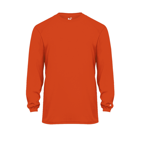 Badger 2004 Ultimate Softlock Youth Long Sleeve Tee - Orange - Baseball Apparel, Softball Apparel, Football, Soccer, Tennis, Lacrosse/Field Hockey, Band, Bowling, Training/Running, Casual Wear - Hit A Double - 1