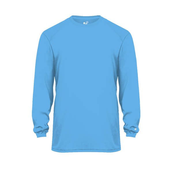 Badger 2004 Ultimate Softlock Youth Long Sleeve Tee - Columbia Blue - Baseball Apparel, Softball Apparel, Football, Soccer, Tennis, Lacrosse/Field Hockey, Band, Bowling, Training/Running, Casual Wear - Hit A Double - 1
