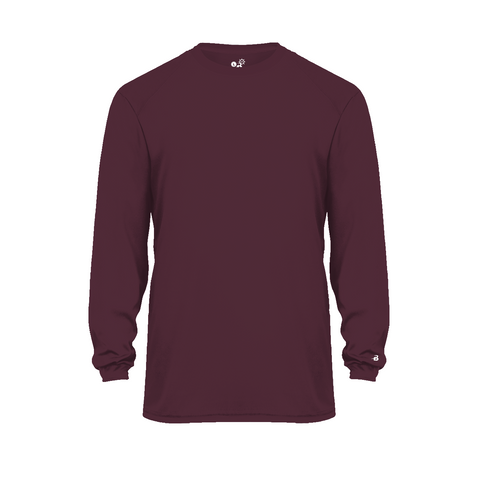 Badger 2004 Ultimate Softlock Youth Long Sleeve Tee - Maroon - Baseball Apparel, Softball Apparel, Football, Soccer, Tennis, Lacrosse/Field Hockey, Band, Bowling, Training/Running, Casual Wear - Hit A Double - 1