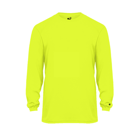 Badger 2004 Ultimate Softlock Youth Long Sleeve Tee - Safety Yellow - Baseball Apparel, Softball Apparel, Football, Soccer, Tennis, Lacrosse/Field Hockey, Band, Bowling, Training/Running, Casual Wear - Hit A Double - 1
