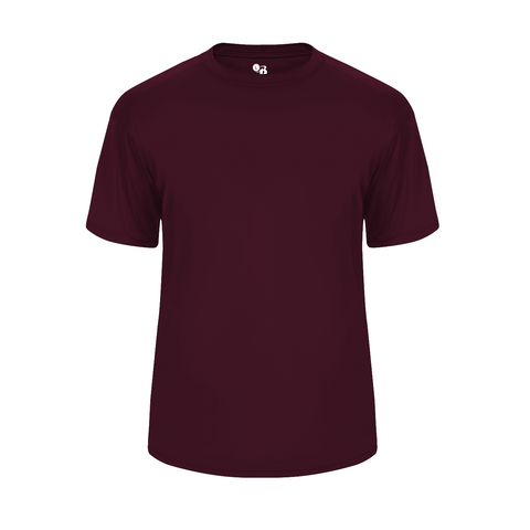 Badger 2020 Ultimate Softlock Youth Tee - Maroon - Baseball Apparel, Softball Apparel, Football, Soccer, Tennis, Lacrosse/Field Hockey, Band, Bowling, Training/Running, Casual Wear - Hit A Double - 1