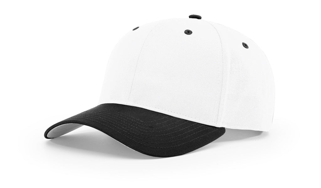 Richardson 212 Pro Twill Snapback Cap - White Black