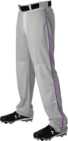 Alleson 605WLB Adult Baseball Pant with Braid - Gray Purple