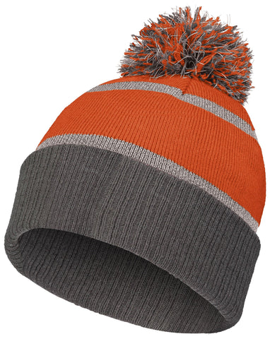 Holloway 223816 Reflective Beanie with Cuff - Orange Carbon - HIT A Double