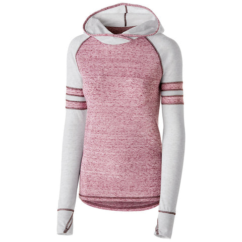 Holloway 229949 Girls Advocate Hoodie - Maroon Silver