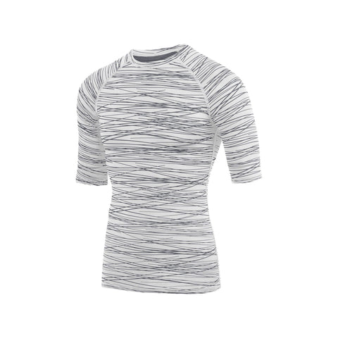 Augusta 2606 Hyperform Compression Half Sleeve Shirt - White Graphite Print