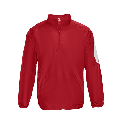 Badger 2641 Sideline Long Sleeve Youth Pullover - Red White