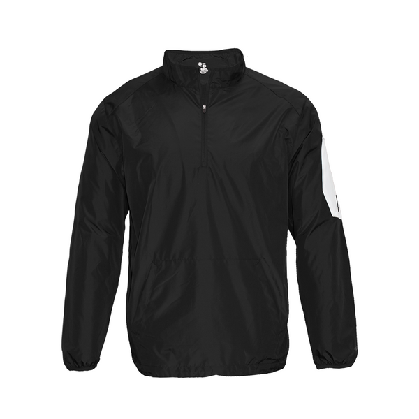 Badger 2641 Sideline Long Sleeve Youth Pullover - Black White
