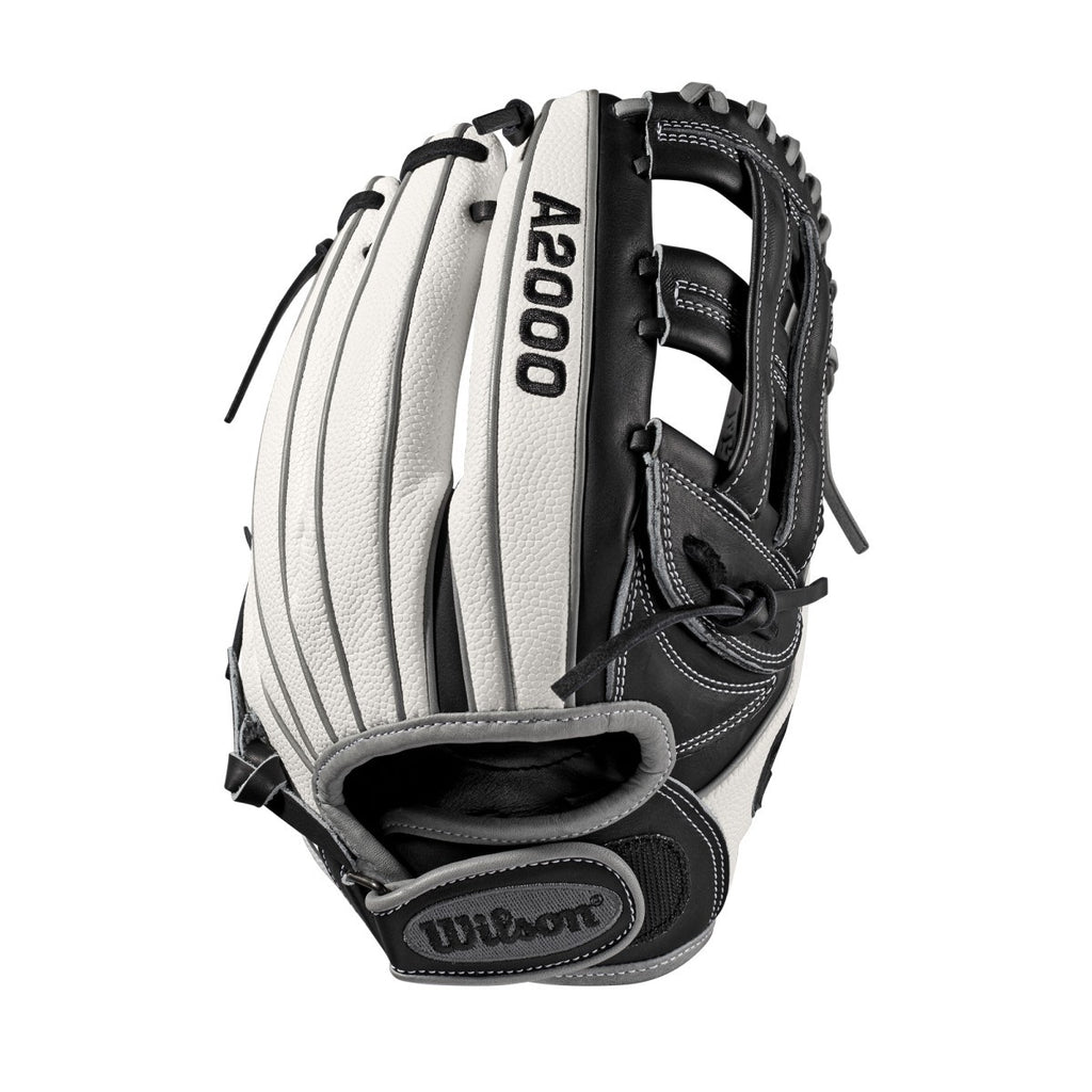 "Wilson 2019 A2000 F12 Superskin 12.00"" FP Infield Glove WTA20RB19FP12SS - White Black - Hit A Double - 1"