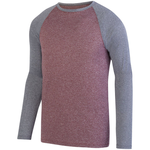 Augusta 2815 Kinergy Two Color Long Sleeve Raglan Tee - Maroon Heather Graphite Heather