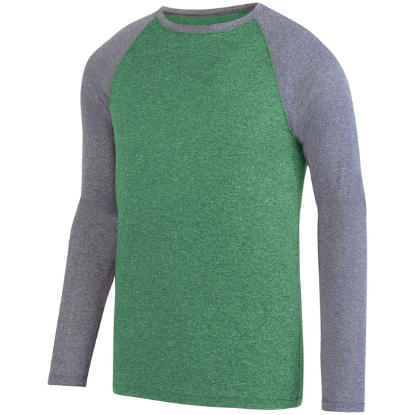 Augusta 2815 Kinergy Two Color Long Sleeve Raglan Tee - Dark Green Heather Graphite Heather