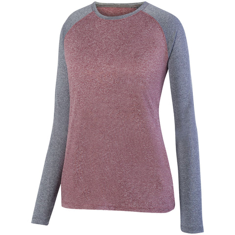 Augusta 2817 Ladies Kinergy Two Color Long Sleeve Raglan Tee - Maroon Heather Graphite Heather