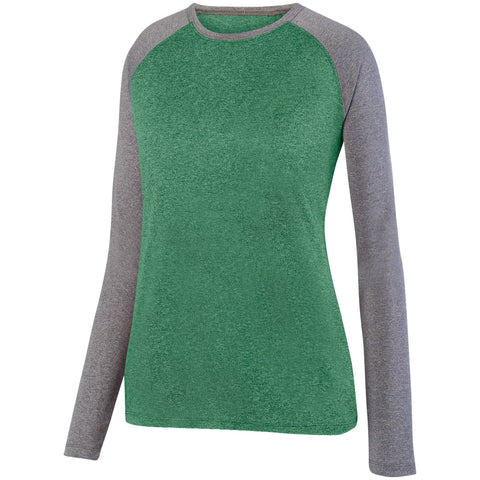 Augusta 2817 Ladies Kinergy Two Color Long Sleeve Raglan Tee - Dark Green Heather Graphite Heather