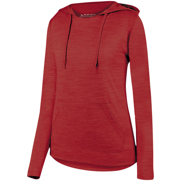 Augusta 2907 Ladies Shadow Tonal Heather Hoody - Red