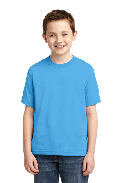 Jerzees 29B Youth Dri-Power 50/50 Cotton/Poly T-Shirt - Aquatic Blue - HIT A Double