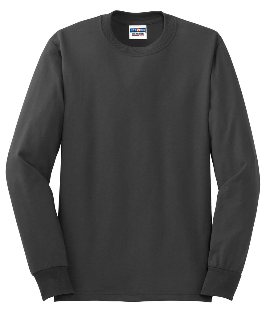 Jerzees 29LS Dri-Power 50/50 Cotton/Poly Long Sleeve T-Shirt - Charcoal Gray - HIT A Double